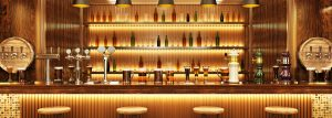 beautiful woodwork surrounding walls and beverage bar